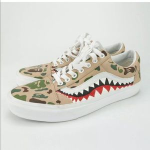 Vans Custom Painted Bape Shark Teeth Shoes